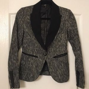 Black tweed blazer with black trim